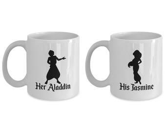 Her Aladdin and His Jasmine Mug Gift Coffee Cup Disney (SET of 2) Whole New World