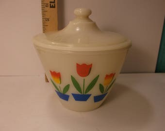 Grease Jar Vintage Fire King White Milk Glass  Tulip  Bowl With Lid. epsteam