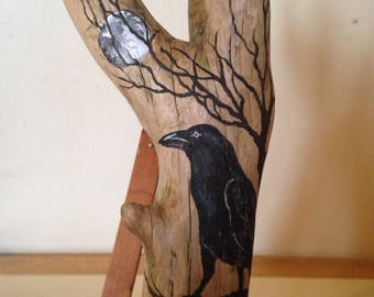 Hand Painted Mystical Crow And Full Moon On DRIFTWOOD OOAK