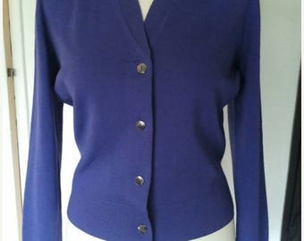 ON SALE Purple little cardigan wool pin up 1960