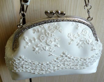 Bridal clutch ,Bridal  bag , Ivory satin clutch ,Silver metal frame, Ivory  lace,  Bride bag,Bride  Purse ,  Made to Order