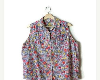 ON SALE Vintage Floral Printed Cotton Sleeveless Blouse from 90's*