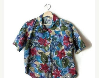 ON SALE Vintage Hibiscus/ Floral printed Short sleeve Cotton Blouse from 80's*