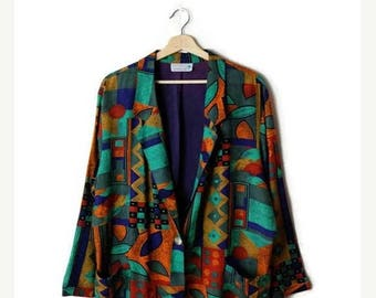 ON SALE Vintage oversized Colorful abstract Slouchy Blazer/Cardigan from 80's*