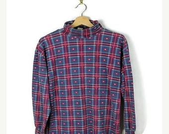 ON SALE Vintage Blue x Red Plaid High Neck Long sleeve T-shirt from 90's
