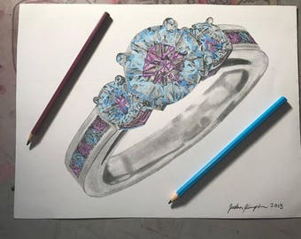 Engagement Ring Jewelry Drawing Art Prints Kimpton Graphics
