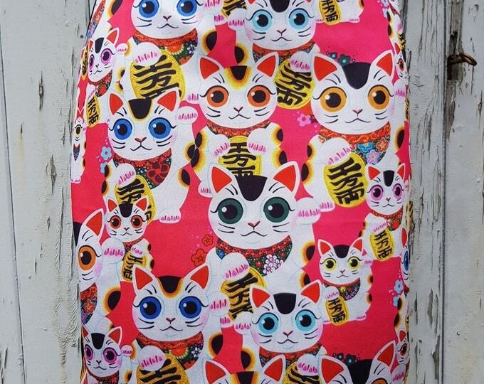 Pink Maneki Neko Lucky Cat Pencil Skirt - Size 8 10 12 14 - Bodycon Wiggle Japanese
