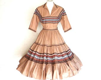 50s Squaw Dress Vintage Cotton Taupe 2pc Outfit Ric Rac Trim XS to S Free Domestic and Discounted International Shipping