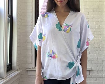 1980s Kimono Sleeve Wrap Top