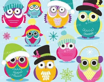 80% OFF SALE 80 Percent 0FF Sale Christmas Owls clipart commercial use, vector graphics, digital clip art, digital images  - Cl589