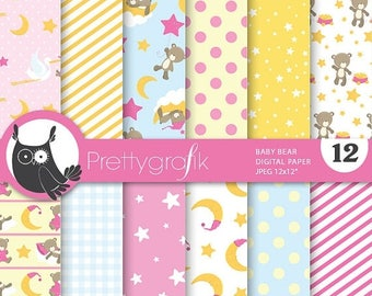 80% OFF SALE Baby girl bears digital paper, commercial use, scrapbook papers, background  - PS673