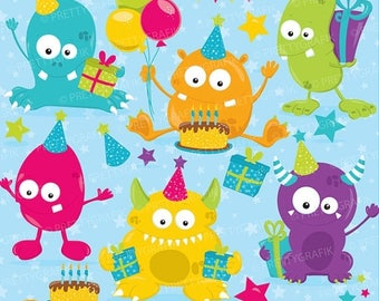 80% OFF SALE Birthday monsters, clipart commercial use, monster clipart vector graphics, digital clip art, digital images - CL760