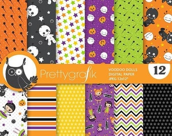 80% OFF SALE Voodoo dolls digital paper, commercial use,  scrapbook papers,  halloween background - PS877