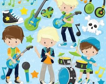80% OFF SALE Rock star boys clipart commercial use, vector graphics,  digital clip art, digital images - CL812