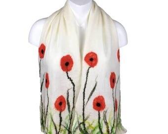 nuno felted scarf, merino wool and silk scarf, shawl, wrap, white scarf with poppy design