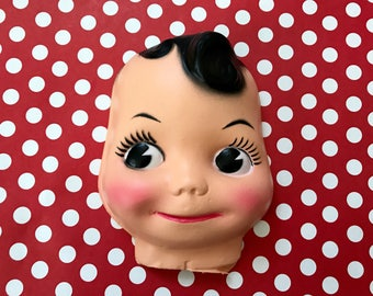Vintage Doll Face Creepy Doll Head Altered Art Big Eyed Doll Craft Supply Kitschy Kewpie