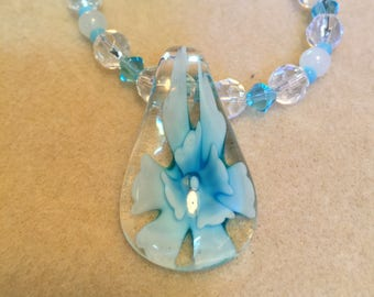 Blue lampwork glass pendant, blue clear and white glass beads,  One of a Kind Beaded Jewellery Gifts for her