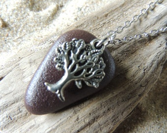 Handmade Natural Beach Stone Necklace with Silver Tree of Life Charm on Chain