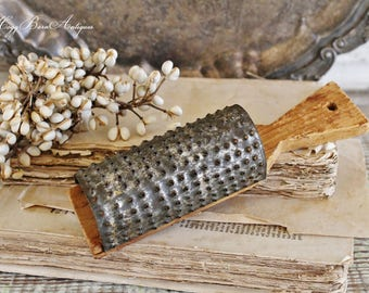 Antique Grater Primitive Wood Handle Punched Tin  Farmhouse Decor Fixer Upper Decor Primitive Kitchen Tool