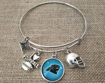 Carolina Panthers Football Charm Bangle Bracelet