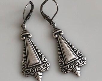 Art Deco Earrings   Antiqued Silver   Bohemian Earrings