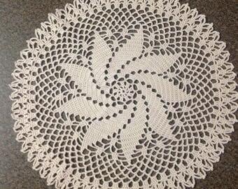 Crochet Doily - Pinwheel Doily - Antique Beige