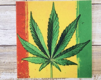 Rasta Flag Pot Leaf Iron On Patch MTCoffinz
