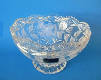 Lausitzer Lead Crystal, Hand Cut Footed Bowl, Frosted, Sawtooth Edge, Made in German Democratic Republic