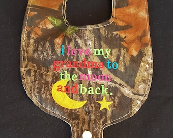 I Love My Grandma to the Moon and Back Custom Embroidered Camouflage Baby Bib