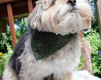 """Dog Bandana - Over the Collar Reversable Green and Black  - Small -  Washable Cotton - Boy Dog Scarf  - Puppy Bandana  10"""" by 6.5"""""""