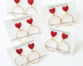 Medium size gold tone hoops and their heart cabochons  50s 60s