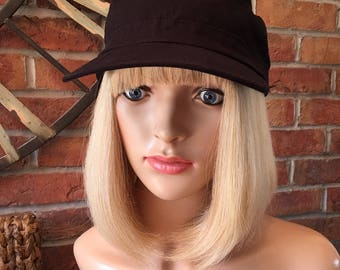 Bobbed bespoke human hair wig with bangs