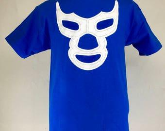 BLUE DEMON ROYAL Blue Mexican Lucha Libre pop art silk screen graphic men's tee