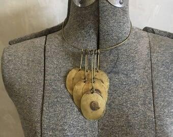 Vintage brass becklace .