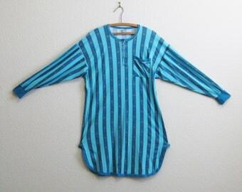 Blue Stripe Cotton Nightshirt Medium Large - Calida Switzerland