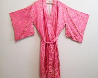 Pink Kimono Robe JAPAN - Asian Robe Japanese Embroidery - Small Kimono Medium