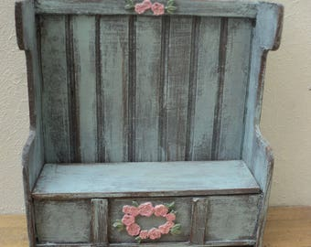 """Dollhouse miniature hall bench in blue in 1"""" or 1:12 scale"""