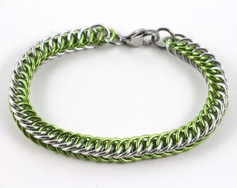 Persian Chainmaille Bracelet | Hand Crafted Chainmaille Jewelry | Handmade Bracelet | Lime Green and Silver | Anodized Aluminum
