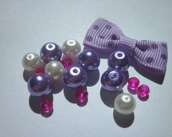 17 glass beads and bow (P18)