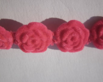 2 Suede flowers to paste (Q24) 12 mm fuchsia color