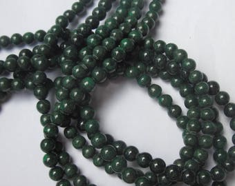 set of ten (1) 6 mm malachite round beads