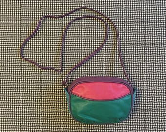 1980's, small, leather, purse, in teal, pink, purple and turquoise, colorblock