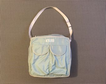 1980's, nylon, shoulder bag, by Totes, in pale blue
