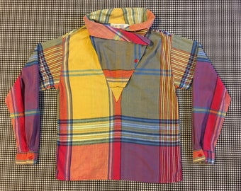 1980's, convertible-collar, blouse, in colorful, plaid, cotton, Women's size Small/Medium