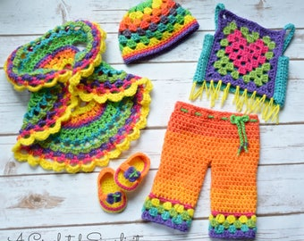 "Crochet Pattern: 18"" Doll Boho Butterfly 5 Piece Set, Permission to Sell Finished Items"