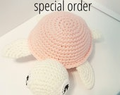 special order - pink and white crochet toy amigurumi turtle