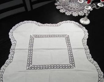 Summer sale White Cotton Tablecloth with white laces. Swedish vintage 1960s.