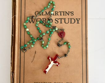 Vintage Green Irish Cross Rosary Necklace