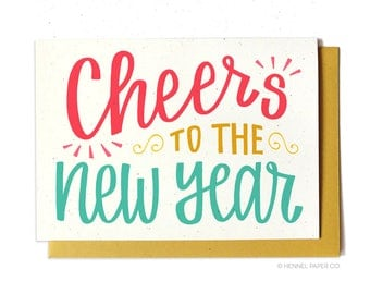 New Years Card - Holiday Card - Cheers to the New Year 2018 Card - Happy New Year Card- New Years Card Set - Hennel Paper Co. - XM23