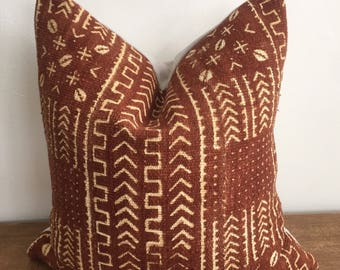 Rust Colored African Mudcloth Handwoven Tribal Pillow Cover // 17 x 17